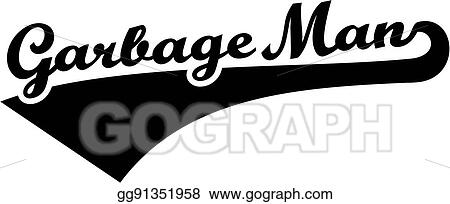 Vector Art Garbage Man Retro Font Clipart Drawing