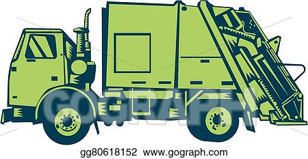 Vector Stock Garbage Truck Rear End Loader Side Woodcut