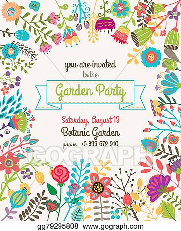 eps vector garden or summer party invitation template poster