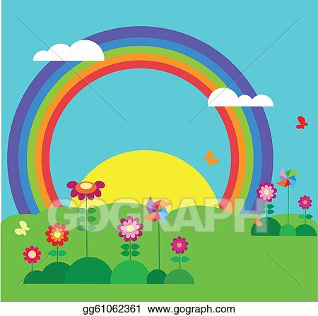 Clip Art Vector - Garden with erfly, rainbow and flowers ... Rainbow Flower Garden Designs on rainbow flower design, rainbow flower bulbs, rainbow flower weddings, natural pools and gardens, rainbow flower trees, rainbow grass, rainbow flower plants, rainbow flower art, rainbow flower arrangement, rainbow flower tattoos, rainbow colored flowers, rainbow flower roses, philadelphia magic gardens, rainbow photography, rainbow flower cake, rainbow nature, beautiful spring gardens, rainbow flower paintings, rainbow fields, rainbow flower landscape,