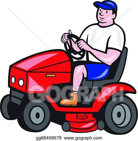 vector clipart gardener mowing rideon lawn mower cartoon vector rh gograph com lawn mowing images clip art lawn mowing images clip art