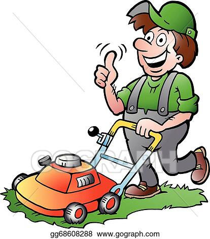 vector stock gardener with his lawnmower stock clip art Riding Lawn Mowers free lawn mowing clipart