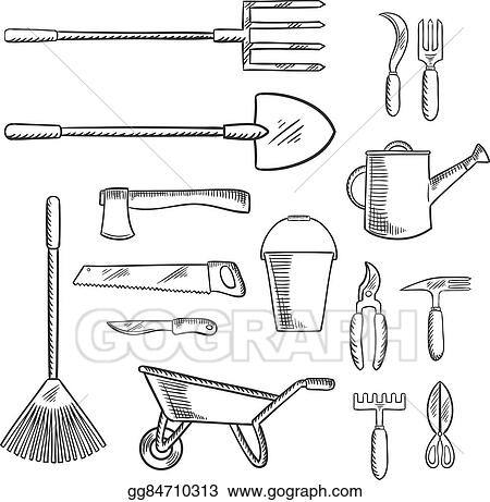 vector illustration gardening and agricultural tools icons stock