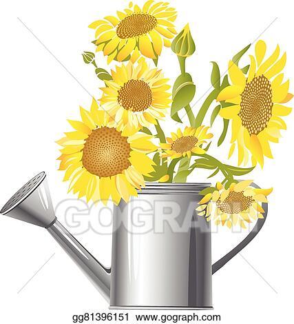 Vector Clipart Gardening Sunflowers Vector Illustration Gg81396151 Gograph