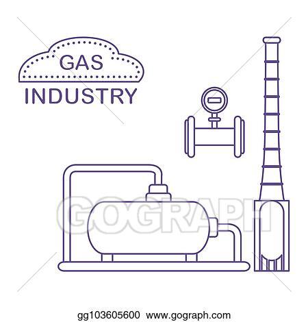 Clip Art Vector Gas Processing Plant Industrial Gas Meter Stock