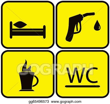 Stock Illustration Gas Station Bed Wc And Coffee Cup Clipart