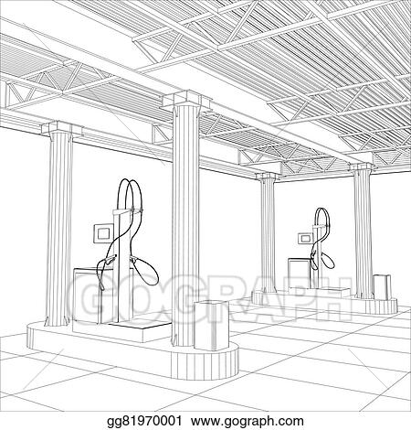 Vector Stock - Gas station wire-frame line vector. Stock Clip Art ...