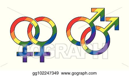 EPS Vector - Gay male and lesbian symbol, rainbow colors ...