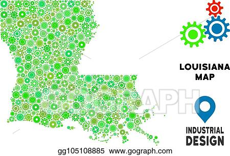 EPS Vector - Gears louisiana state map collage. Stock ...