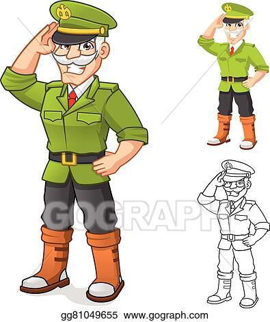 Clip Art Vector General Army Cartoon Character Stock Eps Gg81049655 Gograph