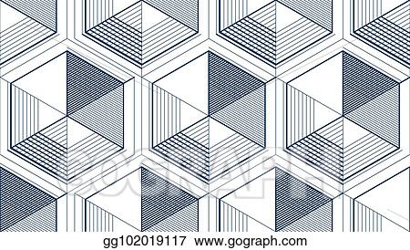 Eps Vector Geometric 3d Lines Abstract Seamless Pattern