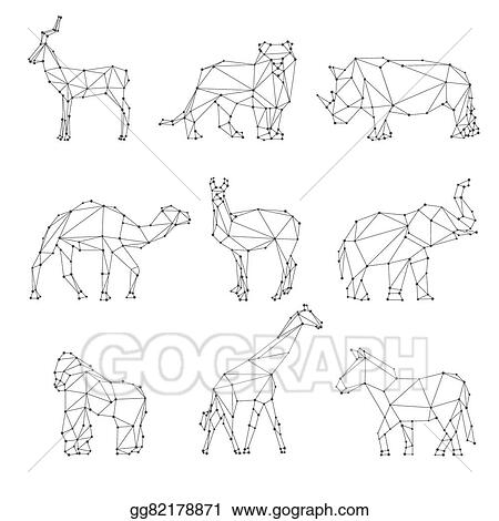 Vector Art Geometric Animals Silhouettes Clipart Drawing