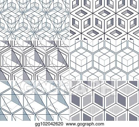 Vector Illustration Geometric Cubes Abstract Seamless