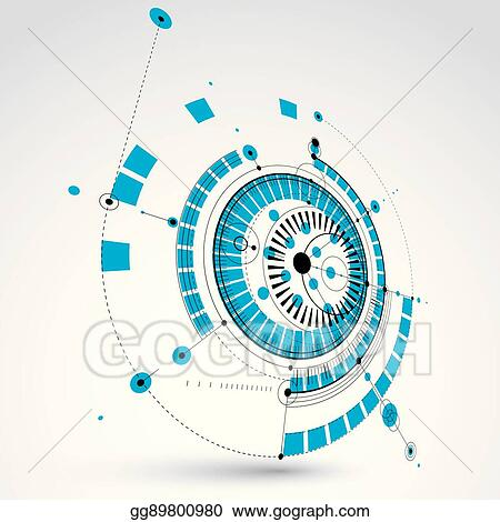 Geometric Technology 3d Vector Drawing Blue Technical Wallpaper Dimensional Abstract Scheme Of Engine Or Engineering Mechanism