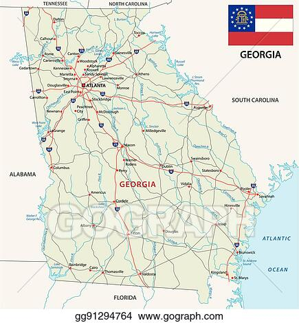 Eps Vector Georgia Road Map With Flag Stock Clipart Illustration