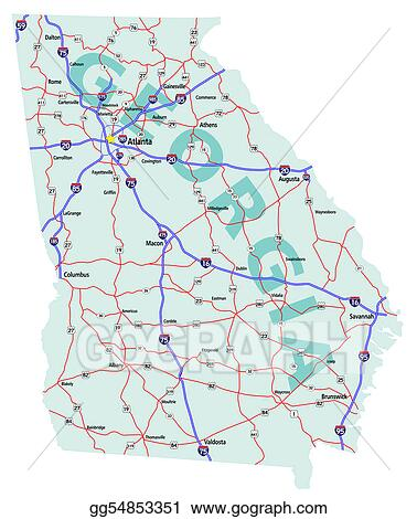 Stock Illustration - Georgia state interstate map. Clipart ...