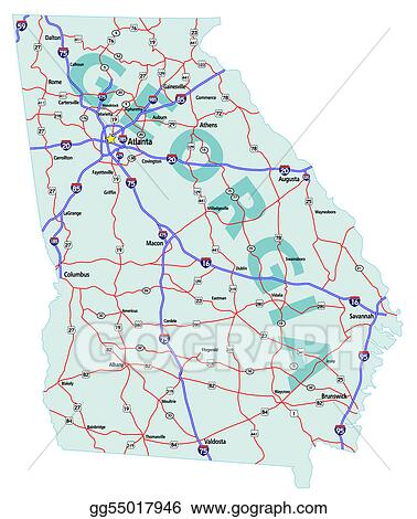 Map Of Georgia With Highways.Eps Illustration Georgia State Interstate Map Vector Clipart