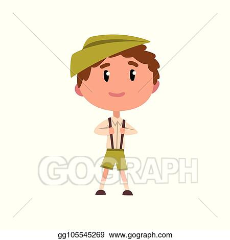 Vector Art German Boy In National Clothes Kid Cartoon Character
