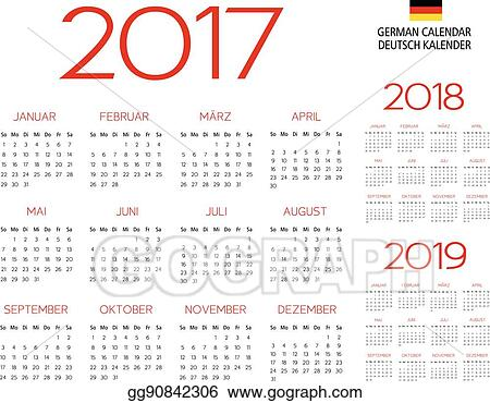 german calendar 2017 2018 2019 template
