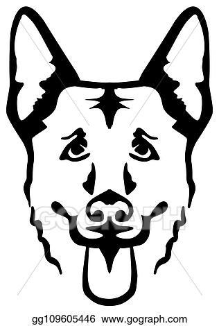 Vector Illustration German Shepherd Head Silhouette Eps