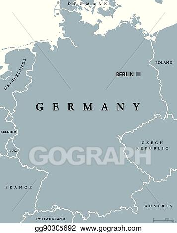 germany political map gray colored
