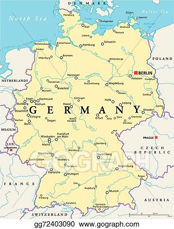 EPS Vector Germany Political Map Stock Clipart Illustration - Germany map eps
