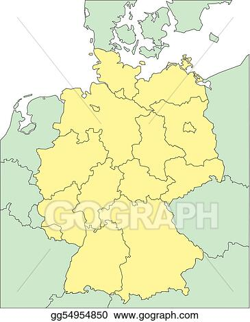 Map Of Germany And Surrounding Countries.Vector Clipart Germany With Administrative Districts And