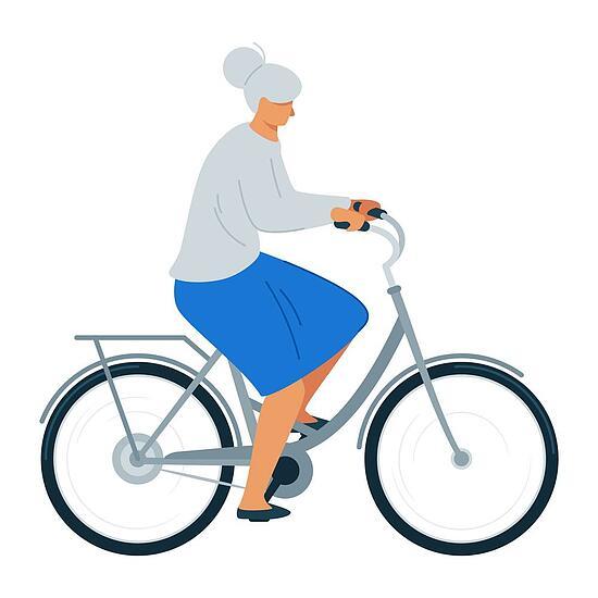 Elderly woman riding bicycle flat vector illustration