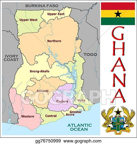 Vector Art Ghana administrative divisions Clipart Drawing