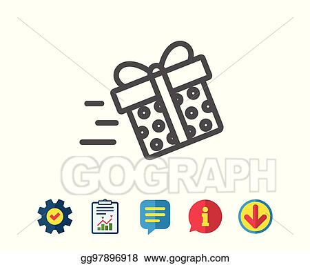 Gift Box Delivery Line Icon Present Sign