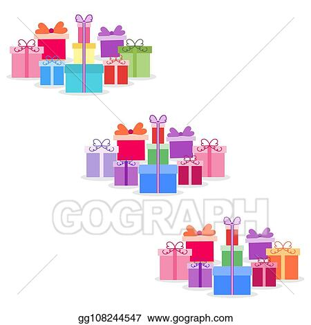 Vector Art Gift Boxes New Year Christmas Birthday Eps Clipart