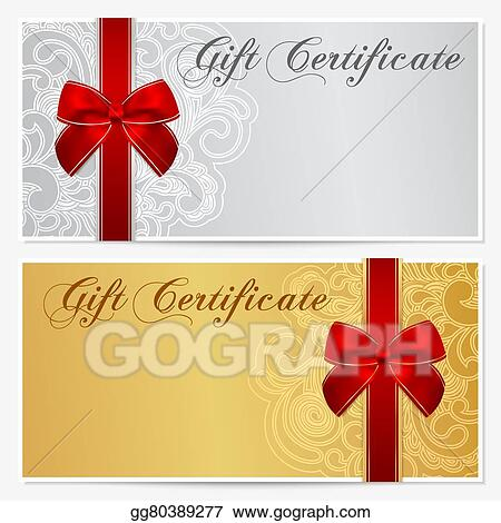eps illustration gift certificate voucher coupon bow vector