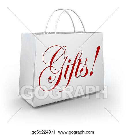 stock illustration gifts word shopping bag present giving holiday