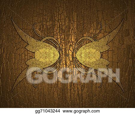 Drawing - Gilded wood background with gold pattern. design template ...