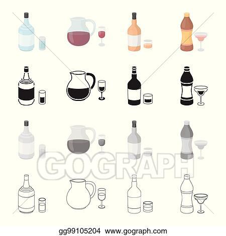 Clip Art Vector - Gin, strong alcohol rum, wine sangria, vermouth