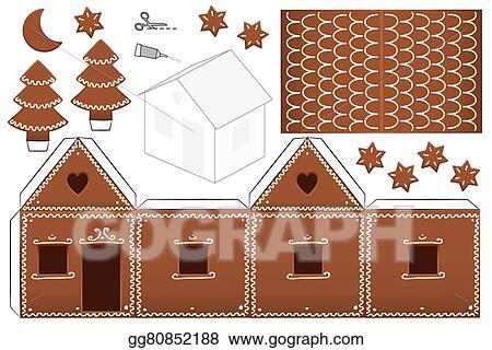 Vector Illustration Gingerbread House Paper Model Stock