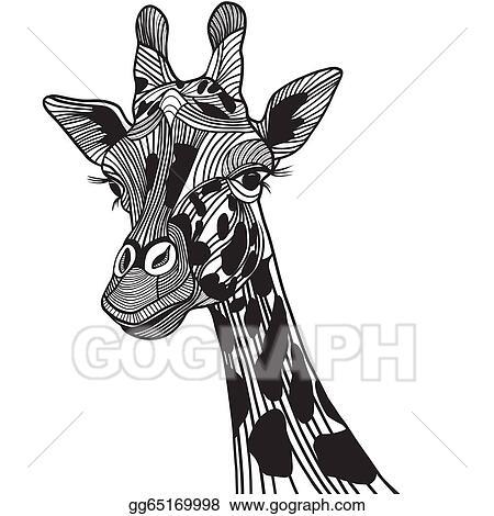 Vector Clipart Giraffe Head Vector Animal Illustration For T Shirt