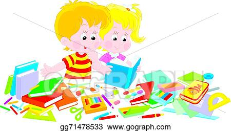 eps illustration girl and boy and school objects vector clipart rh gograph com