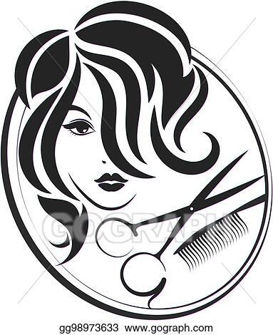 eps illustration  girl and scissors for beauty salon