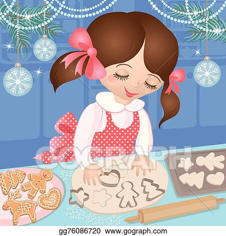 Baking Christmas Cookies Clipart.Vector Clipart Girl At Christmas And Baking Cookie Vector