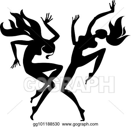 f0cf64551 Clip Art Vector - Girl dancing silhouette. vector illustration ...