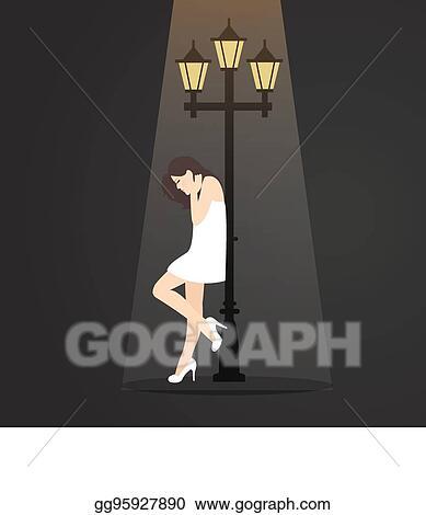 Vector Illustration Girl Depressed Lonely Feel Sad Alone Under Street Lamp Stock Clip Art Gg95927890 Gograph