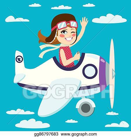 Vector Stock Girl Flying Plane Clipart Illustration Gg86797683