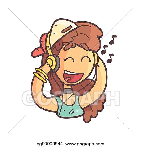 Vector Stock - Girl in cap, choker and blue top listening to