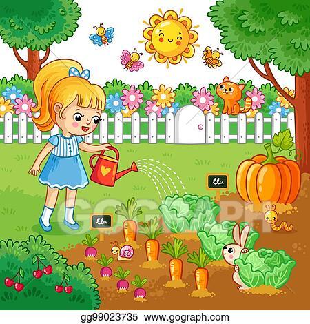 Vector Art Girl Is Watering Garden Bed With Vegetables Clipart