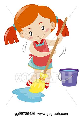 floor mopping clipart wet alone illustration vector gograph