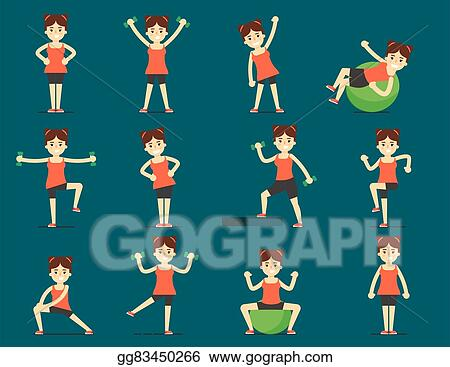 Vector Illustration Girl Plays Sports Beautiful Body Set Exercise Stock Clip Art Gg83450266 Gograph