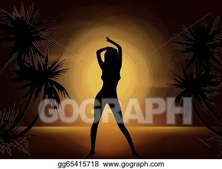Vector Stock - Girl silhouette on sunset beach background