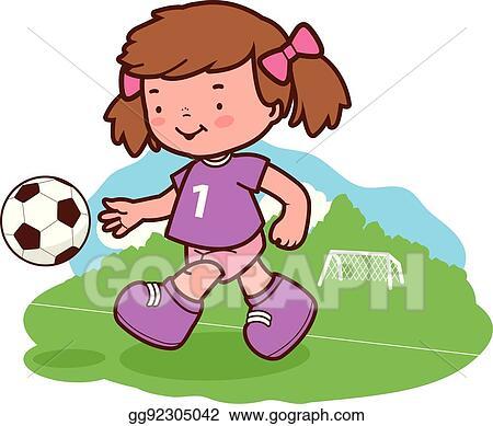 vector stock girl soccer player clipart illustration gg92305042 rh gograph com
