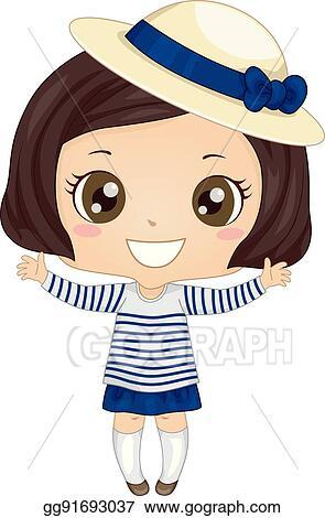 74d8d397 Clip Art Vector - Illustration of a cute little girl wearing a breton shirt  and a derby hat. Stock EPS gg91693037